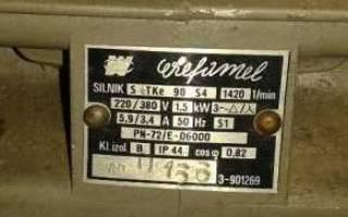 Номинальный ток электродвигателя трехфазного тока таблица