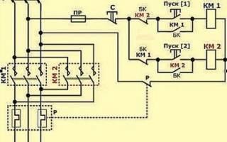 Схема подключения двигателя с реверсом